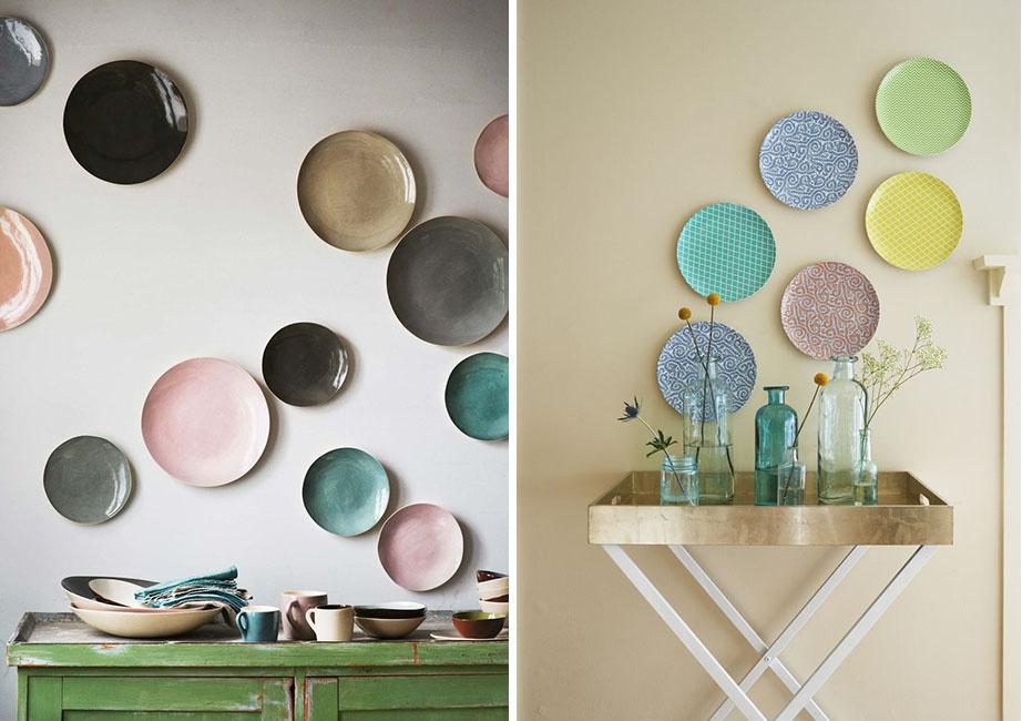 platos en las paredes