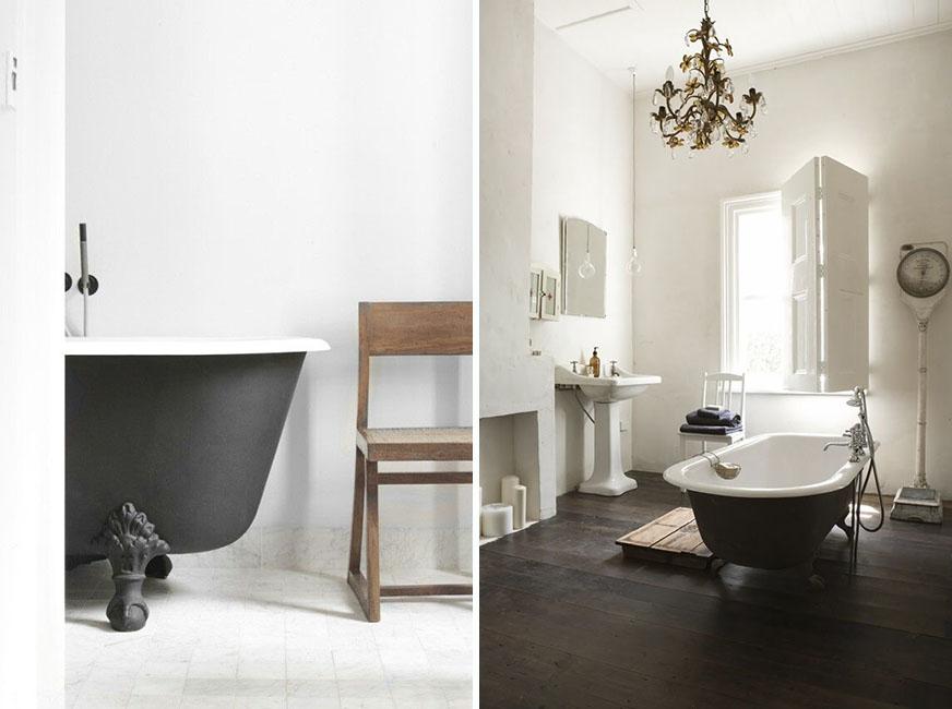 Bañeras antiguas de hierro fundido.
