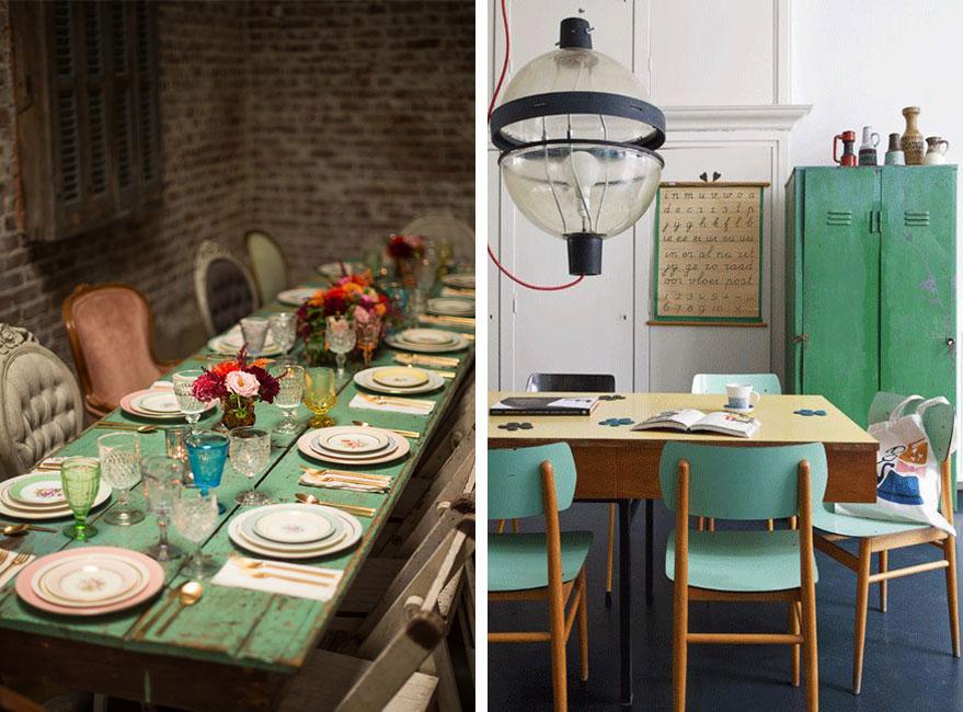 mobiliario de color verde