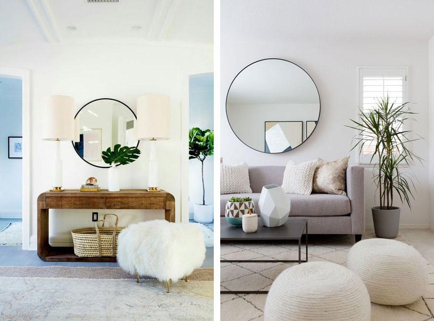 Cómo decorar con espejos redondos de gran tamaño - Noveno Ce