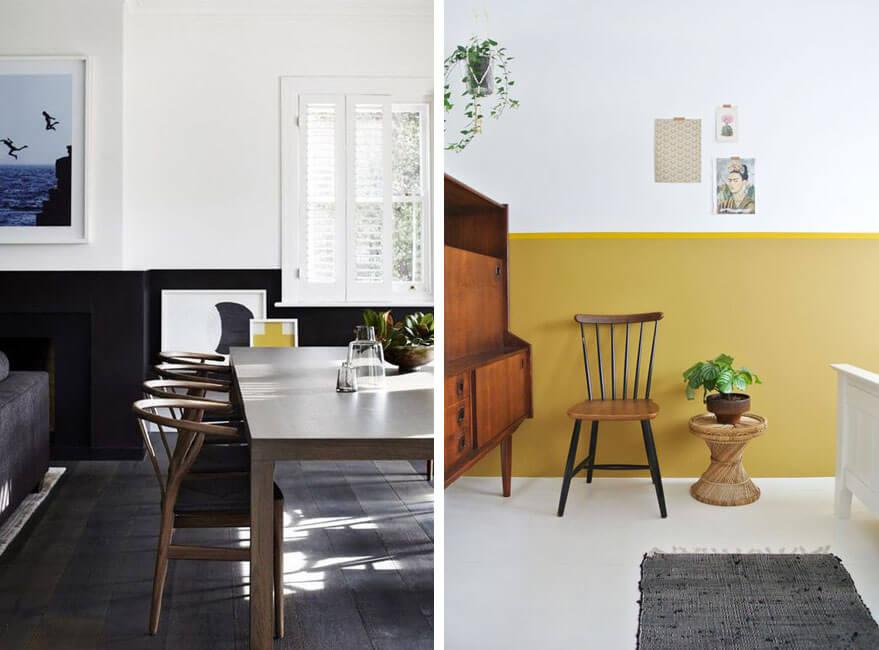 pared en dos colores