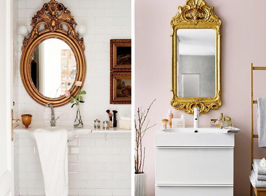 Espejos antiguos que le darán un toque original al baño