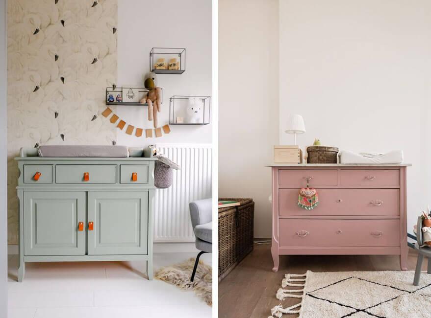 habitación infantil con muebles antiguos